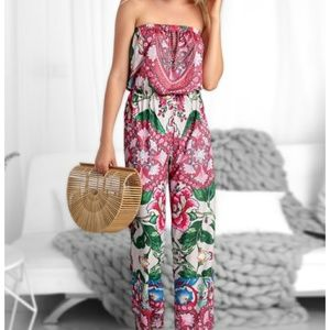 Other - Strapless print wide leg jumpsuit